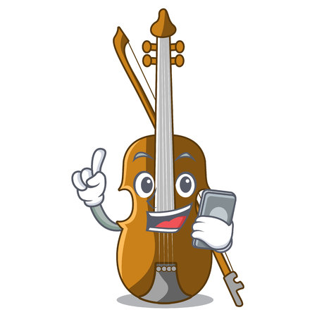 With phone violin in the a character shape vector illustration Illustration