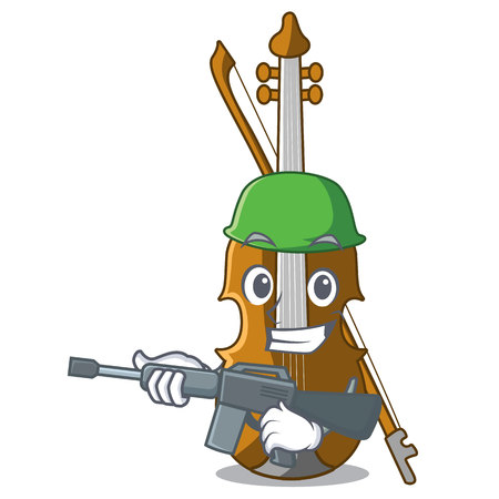 Army violin in the a character shape vector illustration