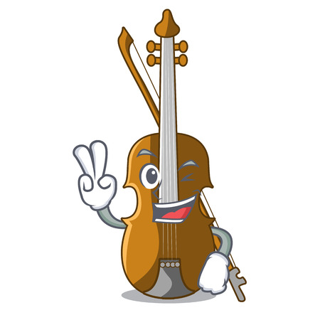 Two finger violin in the shape cartoon wood vector illustration  イラスト・ベクター素材
