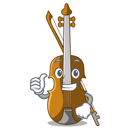 Thumbs up violin in the shape cartoon wood vector illustration  イラスト・ベクター素材