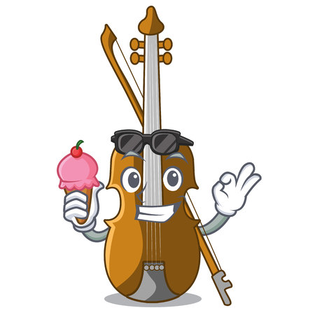 With ice cream violin in the shape cartoon wood vector illustration