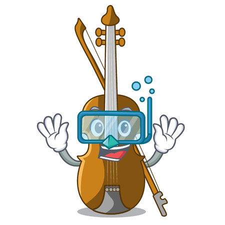 Diving violin in the shape cartoon wood vector illustration