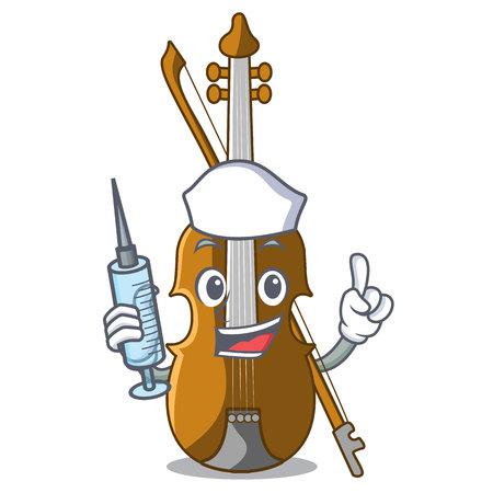 Nurse violin in the shape cartoon wood vector illustration