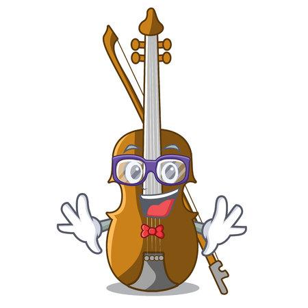 Geek violin in the shape cartoon wood vector illustration