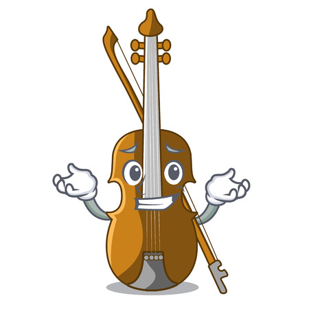 Grinning violin in the shape cartoon wood vector illustration