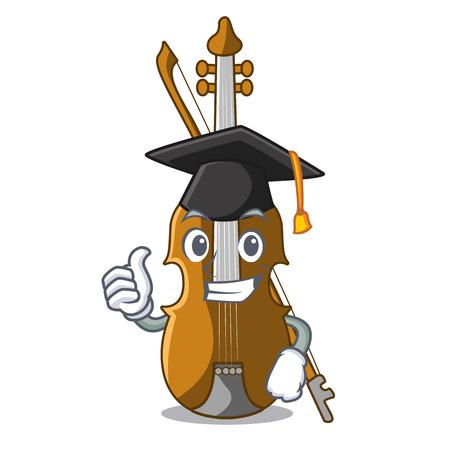 Graduation violin in the shape cartoon wood vector illustration