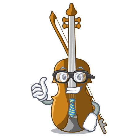 Businessman violin in the shape cartoon wood vector illustration