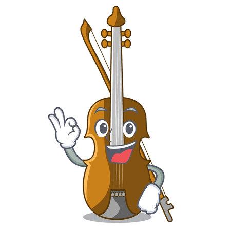 Okay violin in the shape cartoon wood vector illustration Иллюстрация