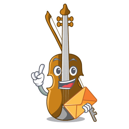 With envelope violin in the shape cartoon wood vector illustration