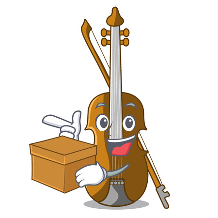 With box violin in the shape cartoon wood vector illustration  イラスト・ベクター素材