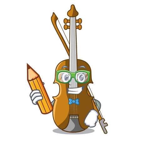 Student violin in the shape cartoon wood vector illustration