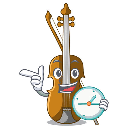 With clock violin in the shape cartoon wood vector illustration Illustration