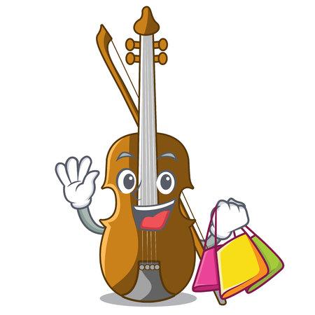Violino di acquisto nell'illustrazione di vettore di legno del fumetto di forma
