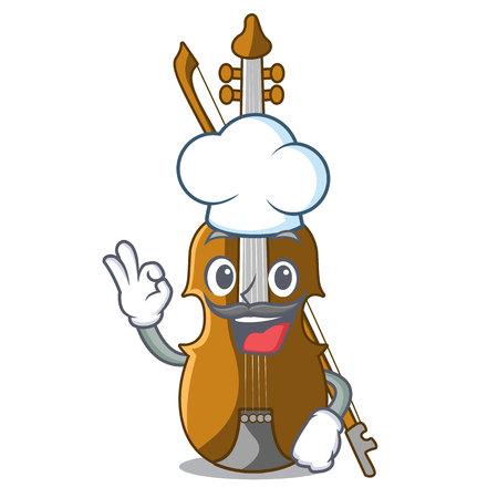 Chef violin in the shape cartoon wood vector illustration Иллюстрация