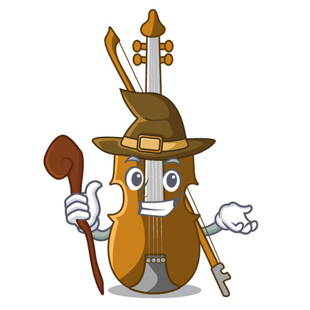 Witch violin in the cartoon music room vector illustratin