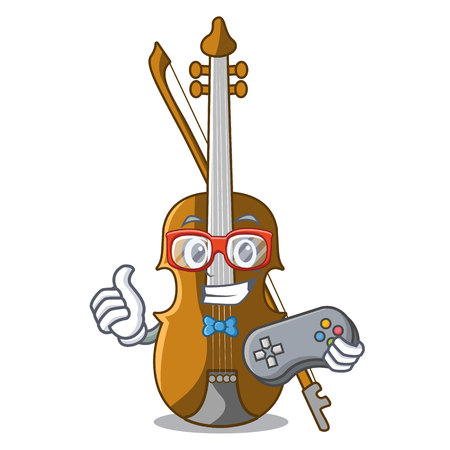 Gamer violin in the cartoon music room vector illustratin