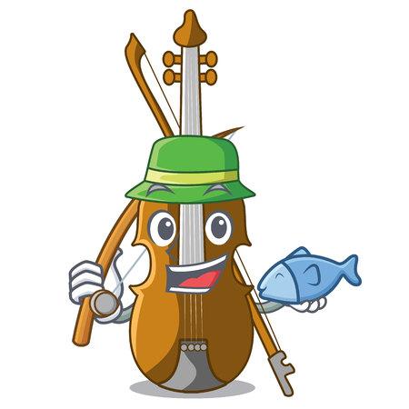 Fishing violin in the cartoon music room vector illustratin Иллюстрация