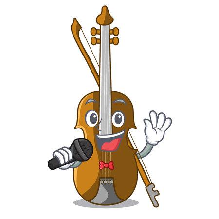 Singing violin in the cartoon music room vector illustratin Illustration