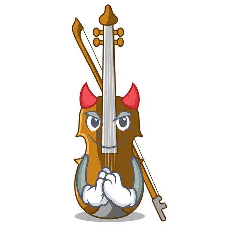 Devil violin in the cartoon music room vector illustratin