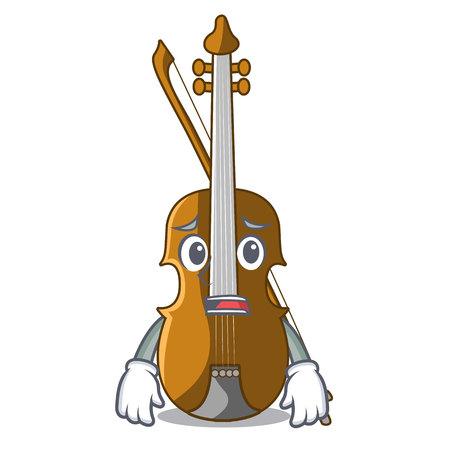 Afraid violin in the cartoon music room vector illustratin