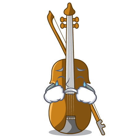 Crying violin in the cartoon music room vector illustratin