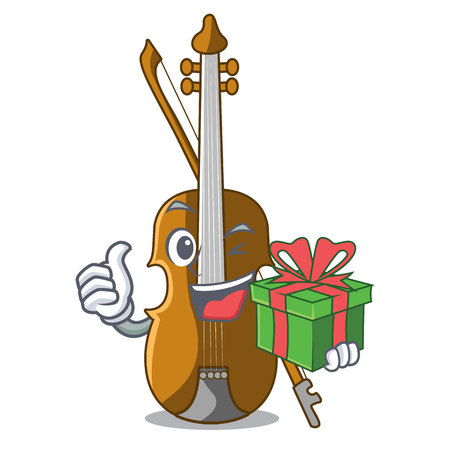 With gift violin in the cartoon music room vector illustratin