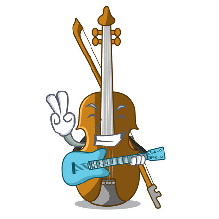 With guitar violin in the cartoon music room vector illustratin