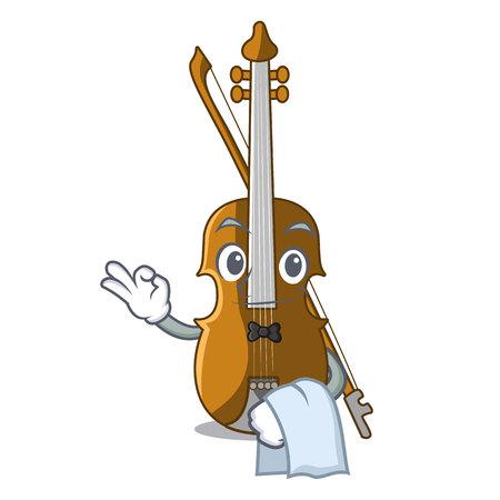 Waiter violin in the cartoon music room vector illustratin