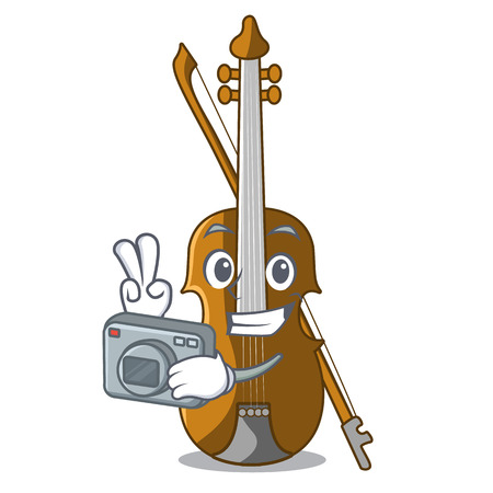 Photographer violin in the cartoon music room vector illustratin