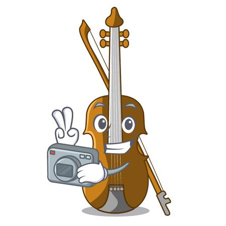 Photographer violin in the cartoon music room vector illustratin
