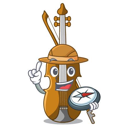 Explorer violin in the cartoon music room vector illustratin