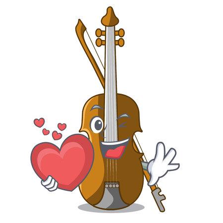 With heart violin in the cartoon music room vector illustratin Illustration