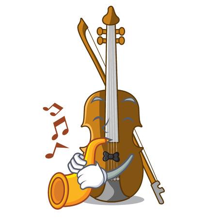 With trumpet violin in the cartoon music room vector illustratin Illustration