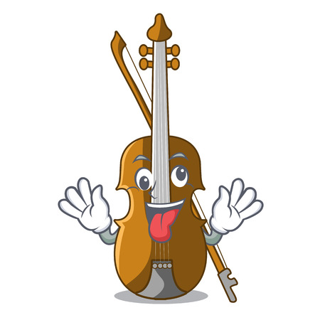 Crazy violin isolated with in the mascot vector illustration Illustration