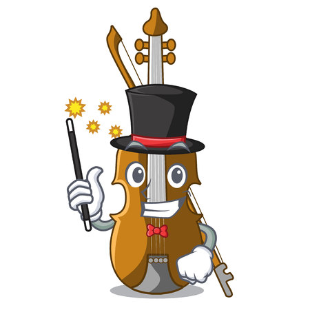 Magician violin isolated with in the mascot vector illustration Illustration