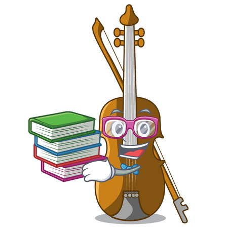 Student with book violin isolated with in the mascot vector illustration