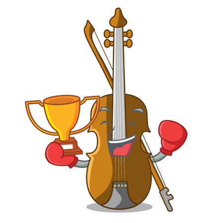 Boxing winner violin isolated with in the mascot vector illustration