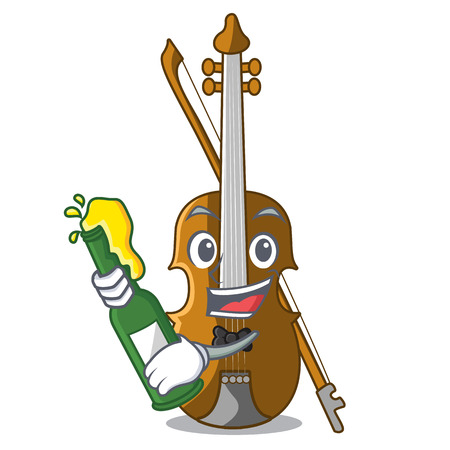 With beer violin isolated with in the mascot vector illustration Illustration