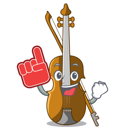 Foam finger violin isolated with in the mascot vector illustration