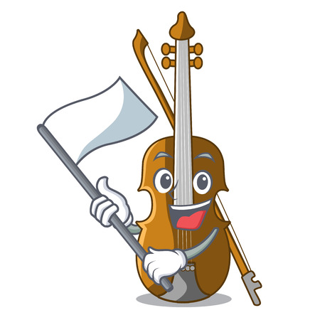 With flag violin isolated with in the mascot vector illustration