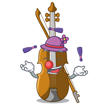 Juggling violin isolated with in the mascot vector illustration