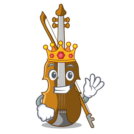 King violin isolated with in the mascot vector illustration