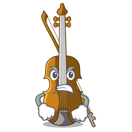 Angry violin in the cartoon music room vector illustratin