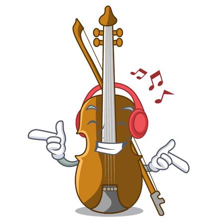 Listening music violin in the cartoon music room vector illustratin Illustration