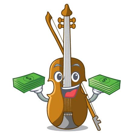 With money bag violin in the cartoon music room vector illustratin