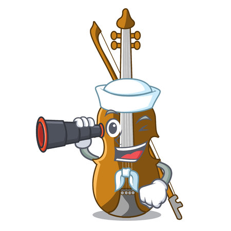 Sailor with binocular violin in the cartoon music room vector illustratin