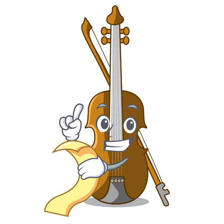 With menu violin in the cartoon music room vector illustratin