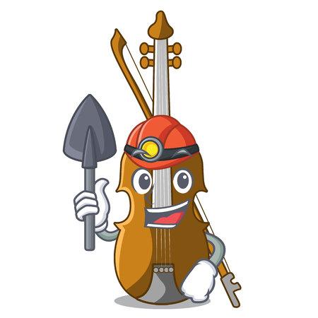 Miner violin in the cartoon music room vector illustratin