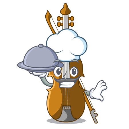 Chef with food violin in the cartoon music room vector illustratin