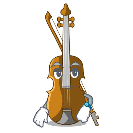 Waiting violin isolated with in the mascot vector illustration Illustration